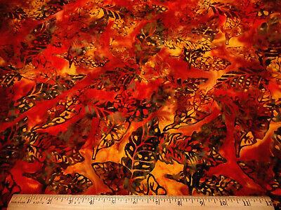 Batik Fabric By The Half-Yard Dk Gray Leaves on Bright Orange Gold Cotton #49 #P ()