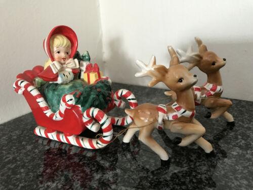 VTG 1956 Lefteris Exclusives Ceramic Christmas Figurines Girl Sleigh Deer Japan