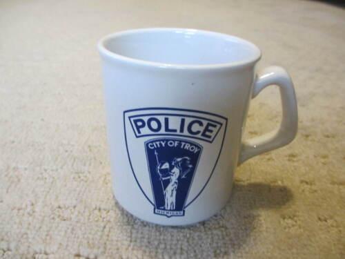 Troy Michigan  Police Coffee Mug - White with Blue Shield