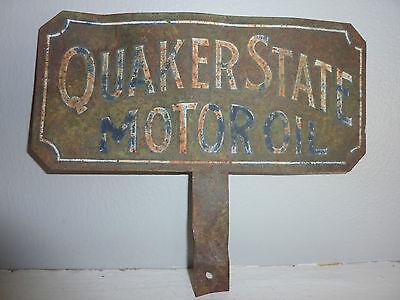 Vintage Original Painted Metal QUAKER STATE MOTOR OIL Lubster Plate Sign