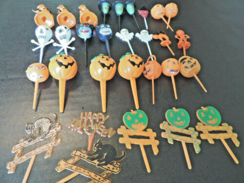Lot 30 Vintage Plastic Halloween Cupcake Picks Toppers JOL, Witches, Ghosts