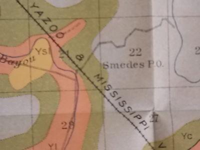 Antique 1902 Map Mississippi Smedes  Ketso Shilo Arcadia Blanton Approx 33 X 18