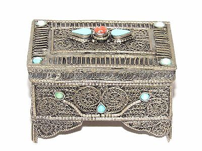 01D20 Antique Box For Jewelry Stash Pill Box Silver Filigree Enamels And Coral