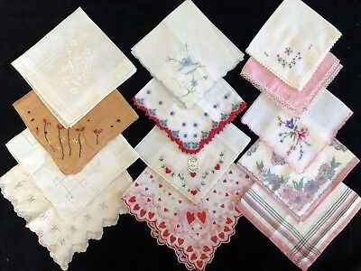 Vintage Hankies Lot 13 w/ Multi-color Floral, Heart, Embroidery Designs (RF899)
