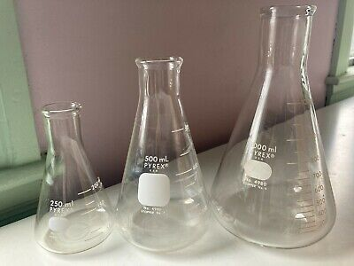 Pyrex Glass Erlenmeyer Flasks 1000ml 500ml. 250ml. No. 4980. Stopper 9 76