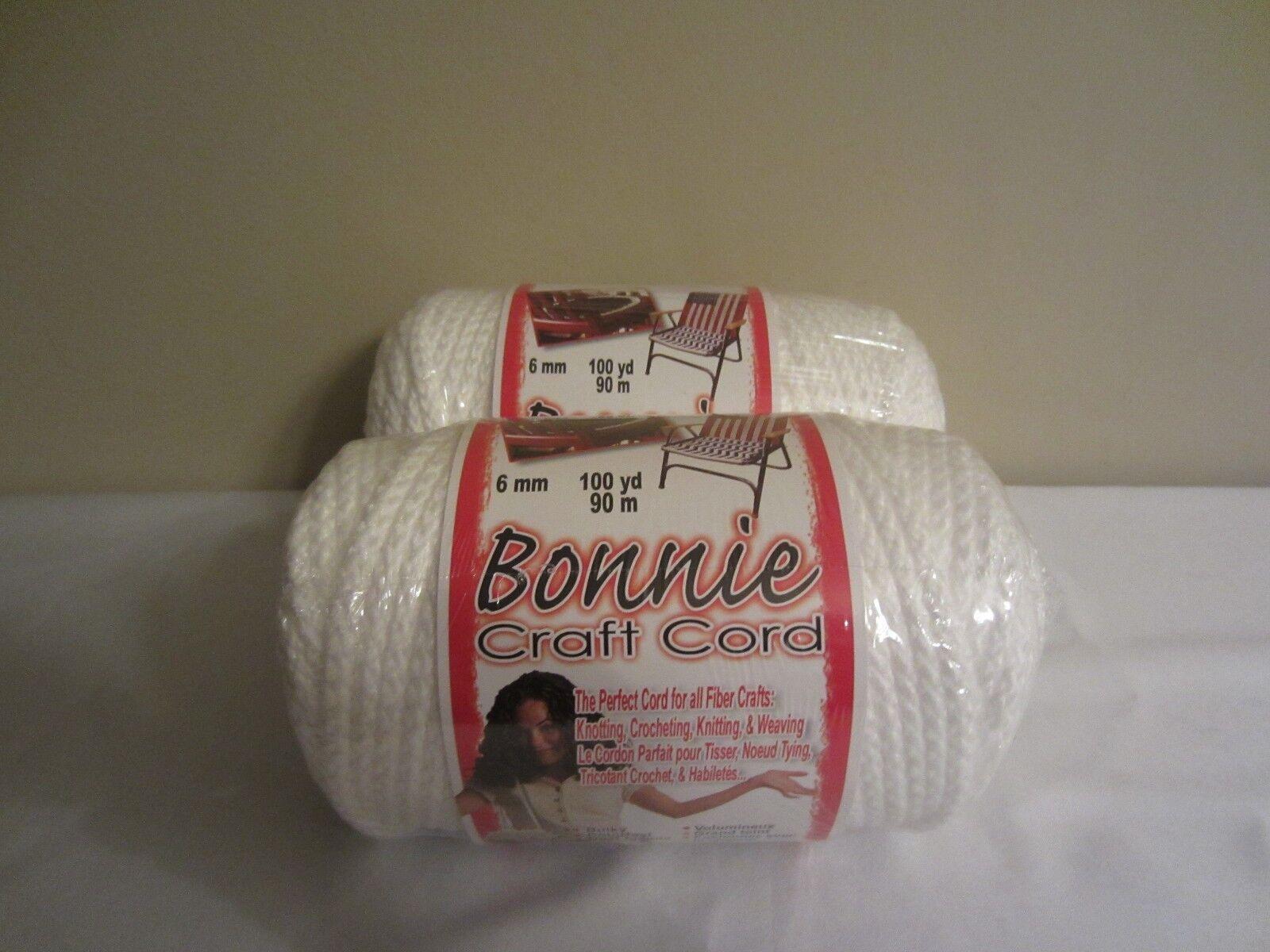 Bonnie craft cord 6mm - Lot Of 2 Rolls Of White 6mm Bonnie