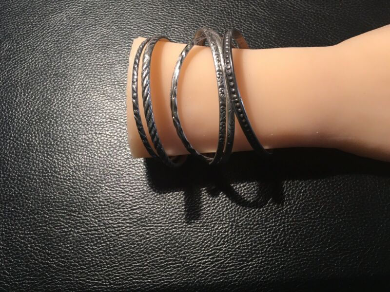 6 Sterling Silver Bangles All Marked Sterling And Ready To Wear 65 Grams