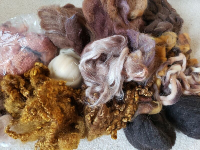 Wool Top/Roving and locks. Handdyed. Huge over 1lb.  Spin or Felt. Browns lot #2