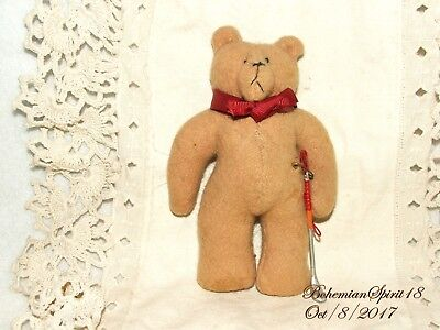 VINTAGE BEAR HOLDING GOLF CLUB STICK WOOL MADE MINIATURE TEDDY BEAR