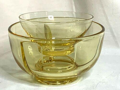 Fostoria elegant glass topaz yellow Fairfax pattern ice dish fruit liner