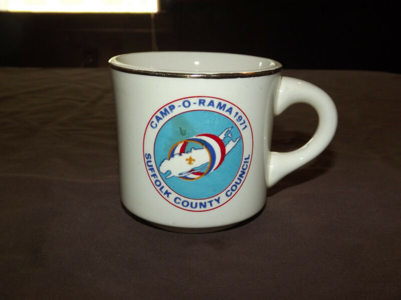 VINTAGE BSA BOY SCOUTS  COFFEE MUG 1971 CAMP-O-RAMA SUFFOLK COUNTY COUNCIL
