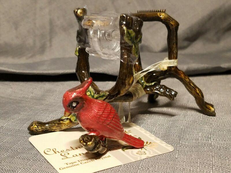 Red Cardinal Bird Chestnut Lane Tape Dispenser Genuine Czech Crystal