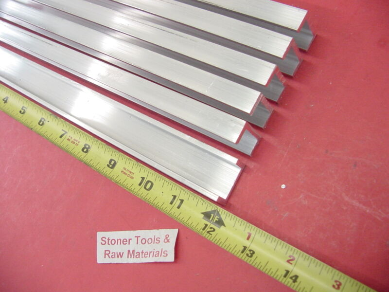 "6 Pieces 1""x 1/2"" ALUMINUM CHANNEL 6063 X 1/8"" Wall 12"" long T52 Mill Stock"