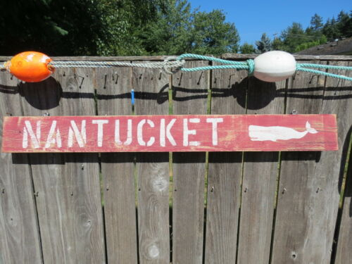 48 INCH WOOD HAND PAINTED NANTUCKET WHALE SIGN NAUTICAL SEAFOOD (#S801)