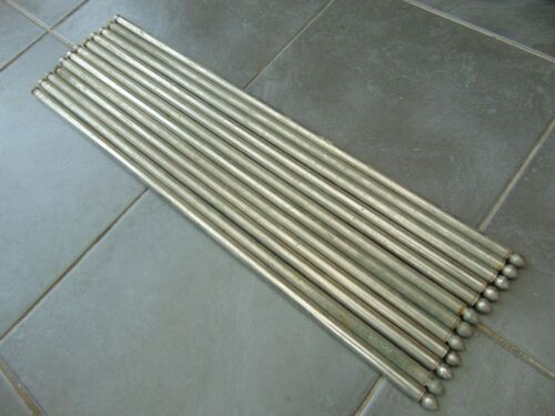 "SET 12 RECLAIMED VINTAGE FRENCH 25"" CHROMED SILVERED CARPET STAIR RODS"