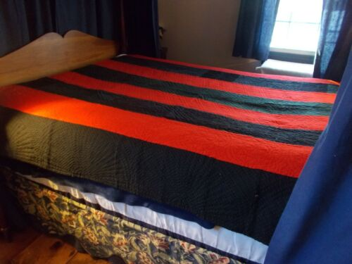LATE 1800S EARLY 1900S WELSH STRIPED WOOL QUILT ALOT LIKE A LINSEY-WOOLSEY HAND