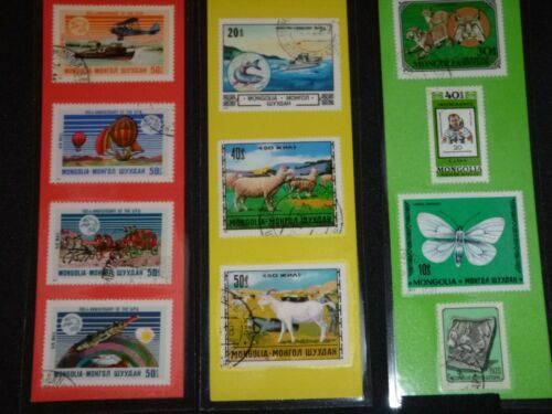 3 BOOKMARKS~MONGOLIA Laminated POSTAGE STAMPS!  NICE LOT!