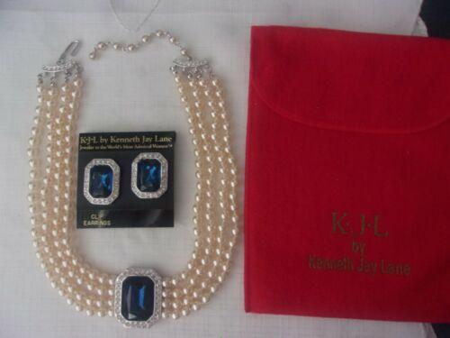 KJL Kenneth Jay Lane Princess Diana 4 Strand Faux Pearl Necklace & Earrings Set