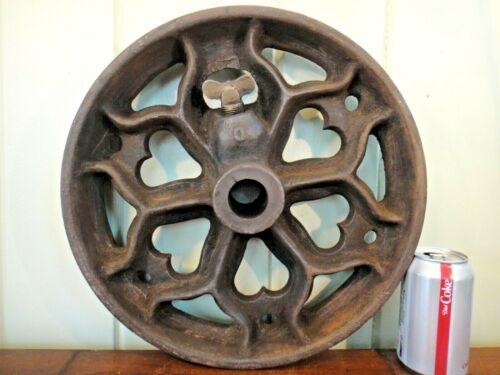 Single Vintage Industrial Cart Wheel - Large Antique Cast Iron Heart -Round Base