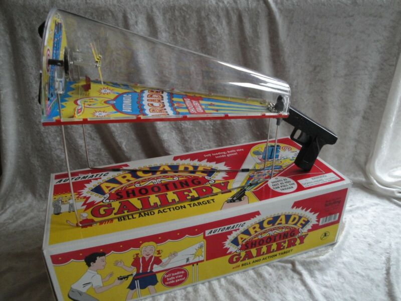 Schylling Toys Metal Arcade Shooting Gallery with Bell and Action Target