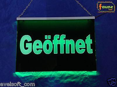 """LED Leuchtschild """"Geöffnet"""" grün Hinweis Werbung Tür ©faunz"""