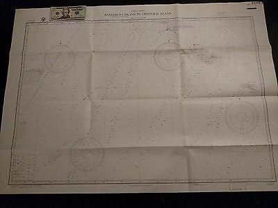 Antique Vintage US Navy Nautical Chart Aeronautical Map Pacific Christmas Island ()