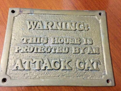 "vintage Brass Cat lovers plaque ""Warning"" 4.5x6.5"""