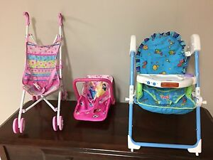 Doll stroller, carrier and high chair