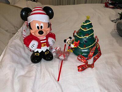 Disney Mickey Light Up Holiday Christmas Tree Popcorn Bucket Bottle Topper