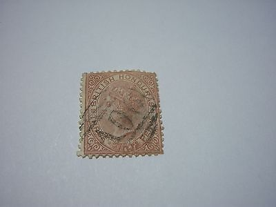 BRITISH HONDURAS-USED-SCOTT #5- 3p redish brown Victoria-wtmk1-perf12 1/2-cv$90