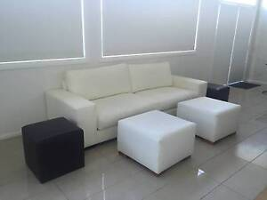 2.5 seater White Leather Lounge with  White and Brown Ottaman's Fairfield Heights Fairfield Area Preview