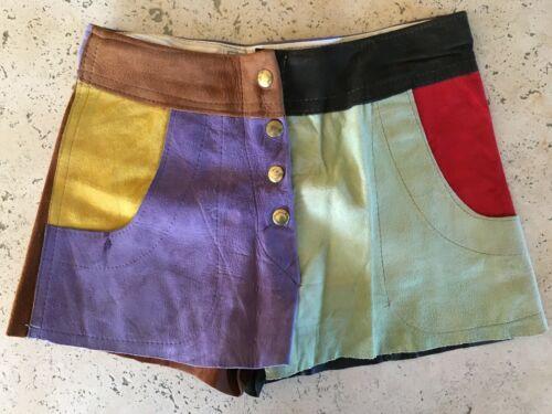 Vintage 1970s Joseph Magnin Multicolor Suede Shorts Hot Pants Snap Fly 26 Waist
