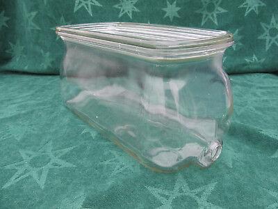 Original Antique Ice Box Water Beverage Glass Bottle Refrigerator Tank & Lid