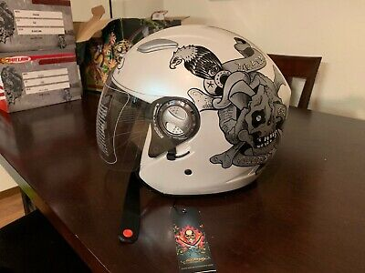 Ed Hardy Death or Glory bling motorcycle helmet with full face visor Glory Full Face Helmet