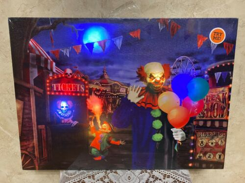 Halloween LED & Sound Haunted Circus Canvas Scene Light-Up Picture Wall Art New