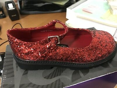 Child Red Glitter Dorothy Maryjane Shoes (E) - Kids Red Dorothy Shoes