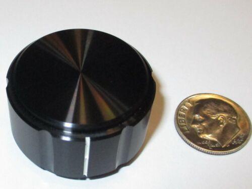 """ALCO SOLID ALUMINUM KNOB FOR 1/4"""" SHAFT BLACK W/LINE   1.25"""" OD X .750""""H   NOS"""