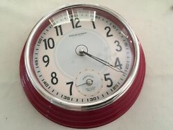 Sterling and Noble analog Wall Clock red and silver Plastic 12""