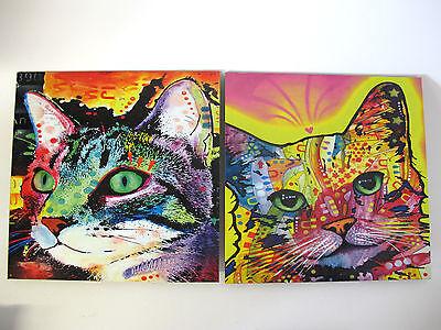 2-er Set Katzenbild Katzenbilder buntes Bild Katze Katzen 30x30cm
