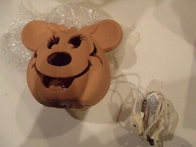 Disney Jack – O – Laterne Minnie Maus Halloween Licht Kürbis Terra Cotta EUC