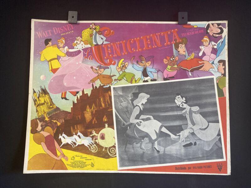 Vntg. Cinderella La Cenicienta WALT DISNEY Original MEXICAN LOBBY CARD ART~L@@K~