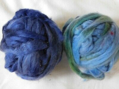 Blue Based Mohair, Wool Kettle Dyed Pencil Roving: Weave, Spin, Felt, -