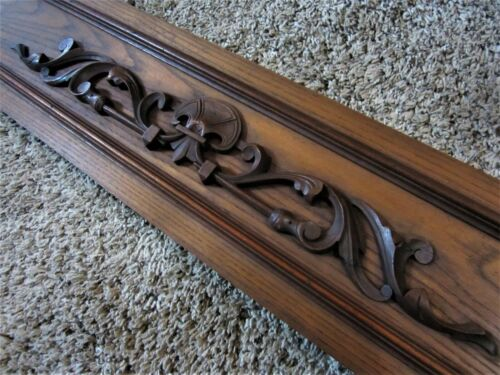 NR MINT! Carved Walnut? Library Architectural Pediment Wood Furniture Panel Part