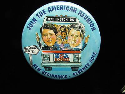 "1993 Clinton Presidential Inauguration 3 1/2"" Pinback Button American Reunion"