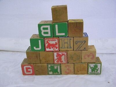 19 Vintage Child's ABC Wooden Toy Building Blocks