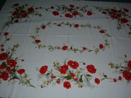 VINTAGE TABLECLOTH RED POPPY FLORAL