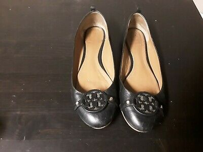 Tory Burch Size 8 Black Leather Reva Flats