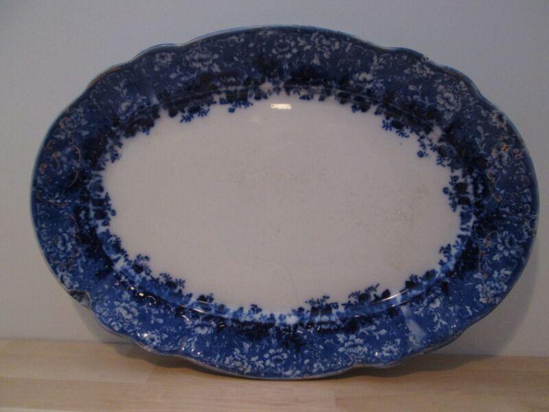 Antique Ridgway Dundee Flow Blue Platter,Semi porcelain,
