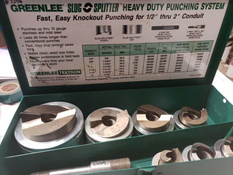 "Greenlee Slug/Splitter 7307 Stainless Steel Knockout Punch Set 1/2-2"" #7306"