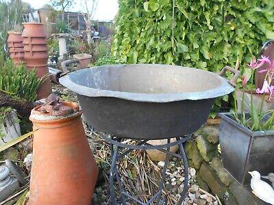 Vintage French/antique? jam pan/planter/jardiniere/fire pit 2 handled untouched